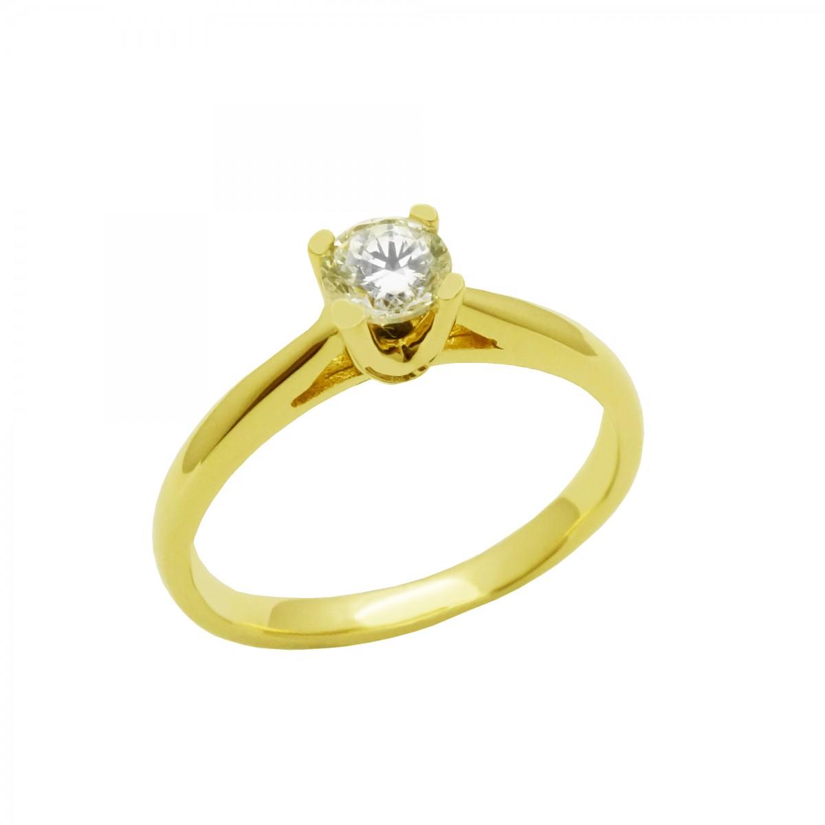 Μονόπετρο δαχτυλίδι χρυσό 14 καράτια με ζιργκόν - 168€ d5364fce555