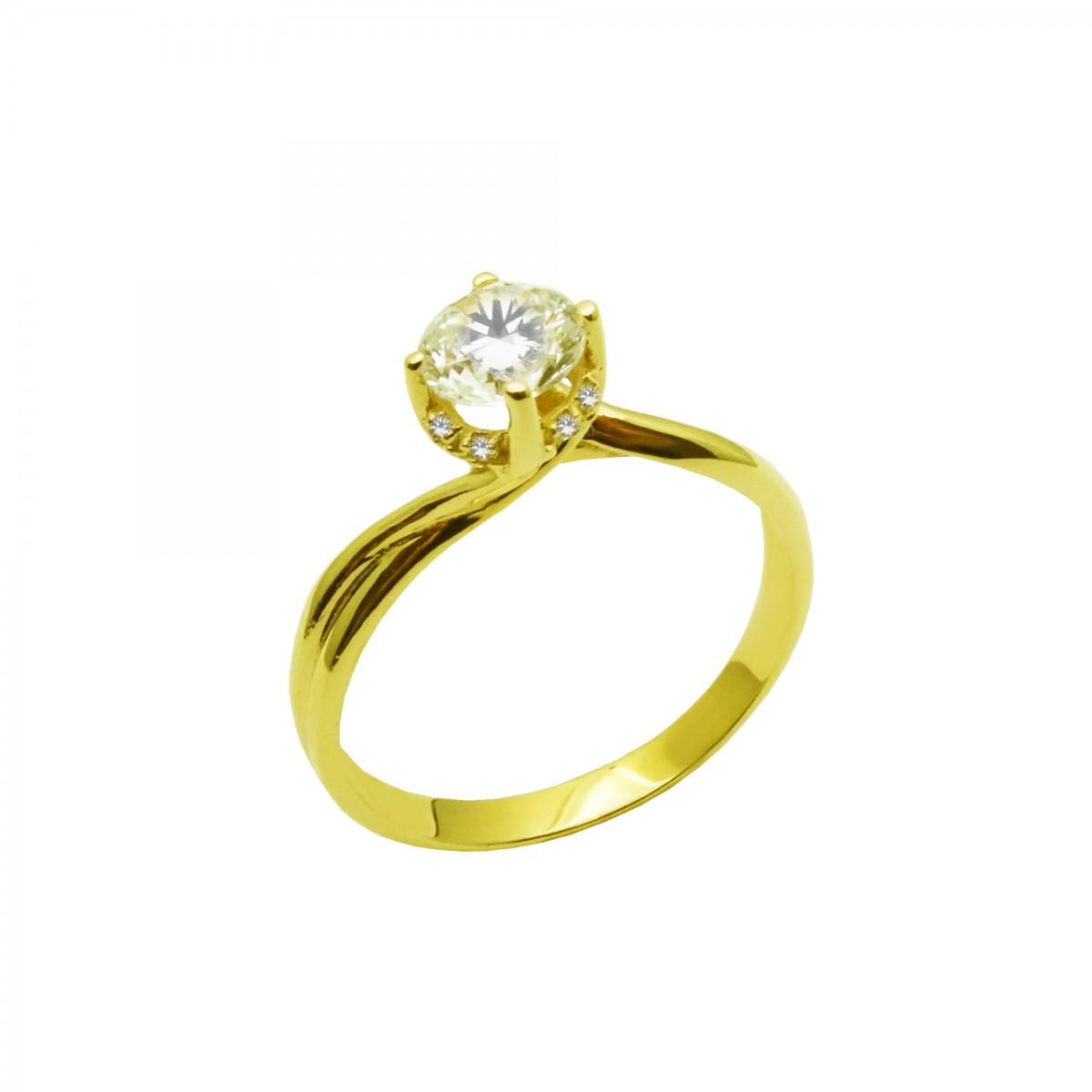 Μονόπετρο δαχτυλίδι χρυσό 14 καράτια με ζιργκόν - 161€ 6bfd3225782
