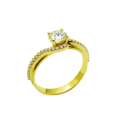 Μονόπετρο δαχτυλίδι χρυσό 14 καράτια με ζιργκόν c46505ac3e9
