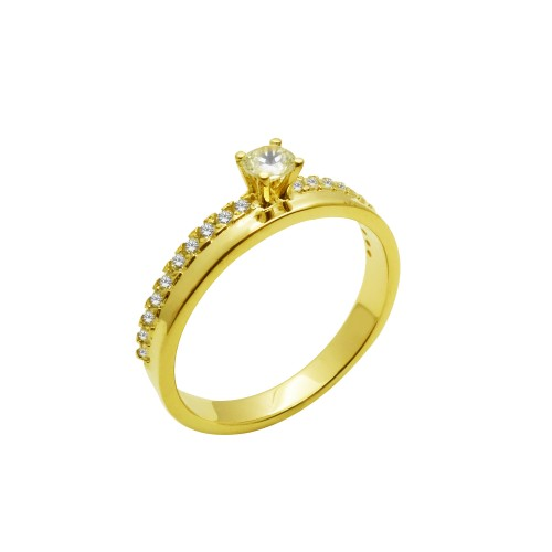 Μονόπετρο δαχτυλίδι χρυσό 14 καράτια με ζιργκόν