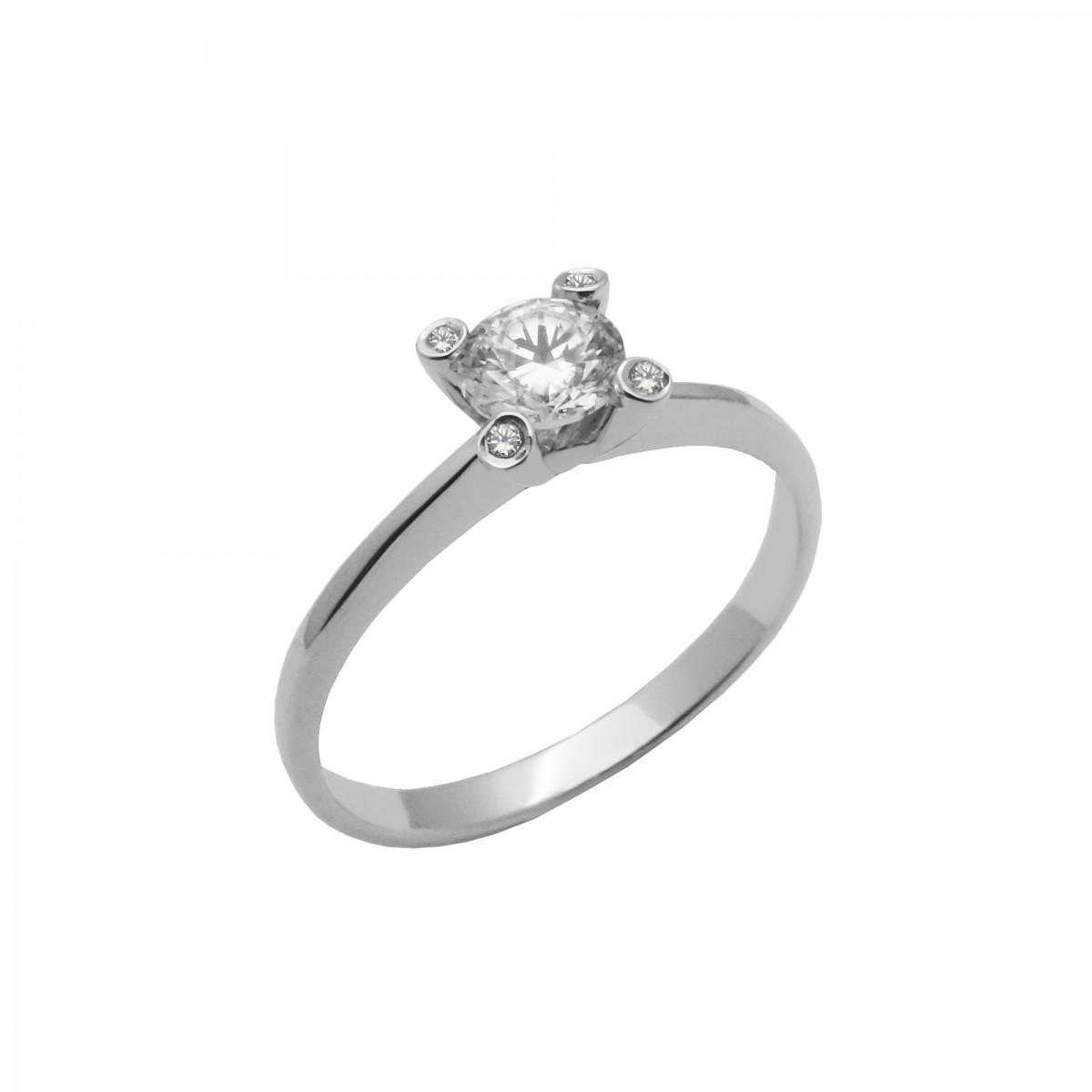 Μονόπετρο δαχτυλίδι λευκόχρυσο 14 καράτια με ζιργκόν - 157€ b9fab57a653