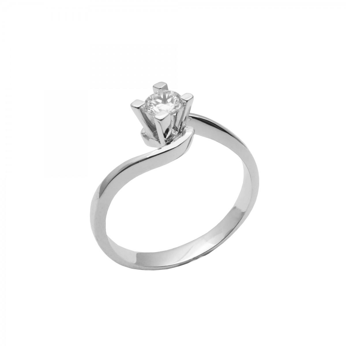 Μονόπετρο δαχτυλίδι λευκόχρυσο 14 καράτια με ζιργκόν - 181€ 68a2c2ed684
