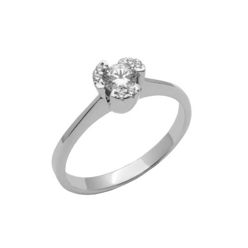 Μονόπετρο δαχτυλίδι λευκόχρυσο 18 καράτια με διαμάντι 6bba0c7900b