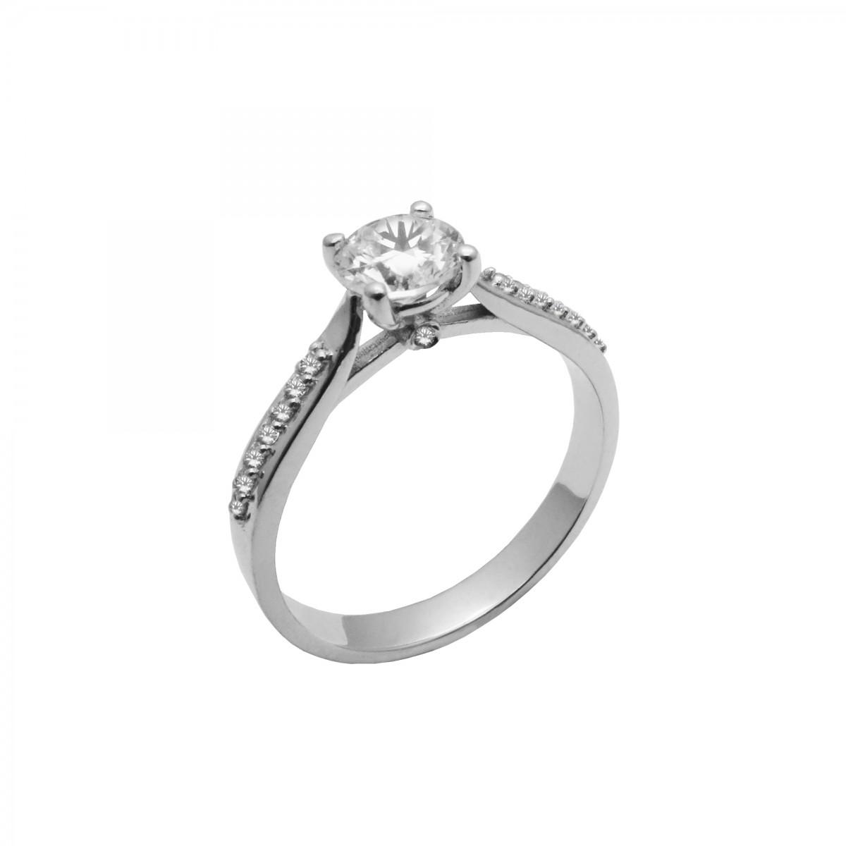Μονόπετρο δαχτυλίδι λευκόχρυσο 14 καράτια με ζιργκόν - 185€ 61bfc65c35f